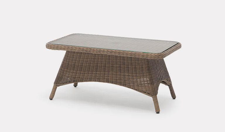 RHS Harlow Carr Coffee Table from the RHS by KETTLER garden furniture range on a grey background.