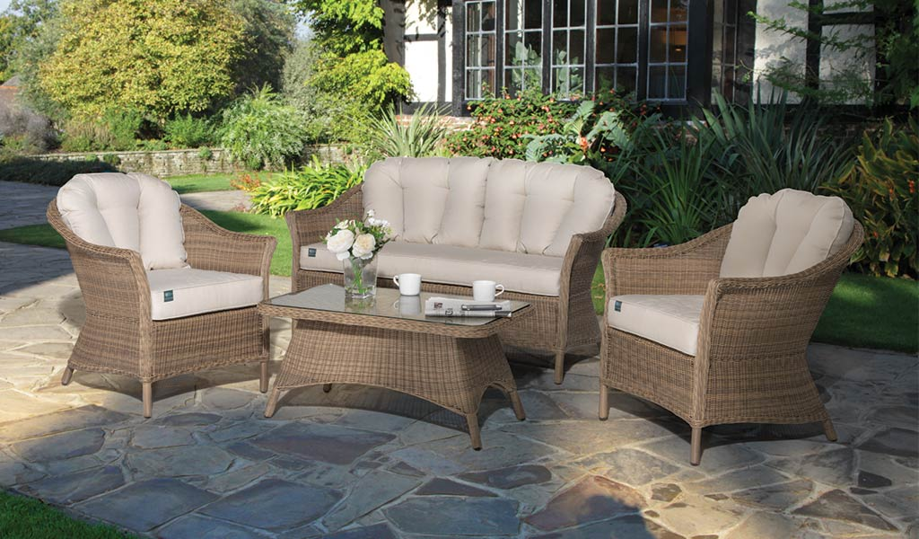 RHS Harlow Carr Lounge Set from the RHS by KETTLER Garden furniture range on a patio.