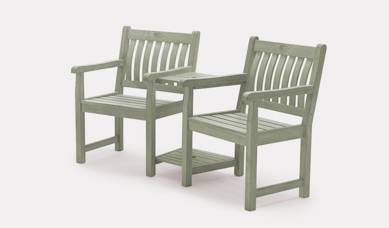 Rosemoor Companion Set from the RHS by KETTLER garden furniture range on a grey background.
