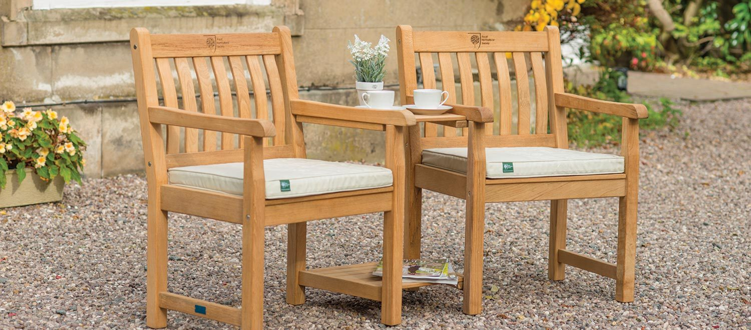 RHS Chelsea Companion Set with cushions from the RHS by KETTLER garden furniture range on a stoned patio