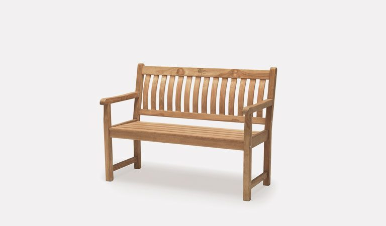 Wisley 4ft Bench from the RHS by KETTLER garden furniture range on a grey background.