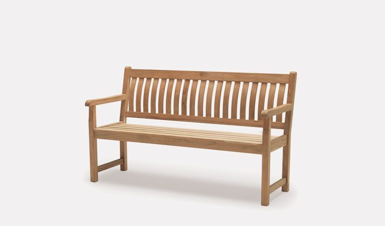 Wisley 5ft Bench from the RHS by KETTLER garden furniture range on a grey background.