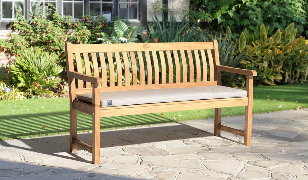Wisley 5ft Bench from the RHS by KETTLER garden furniture range in the sun.