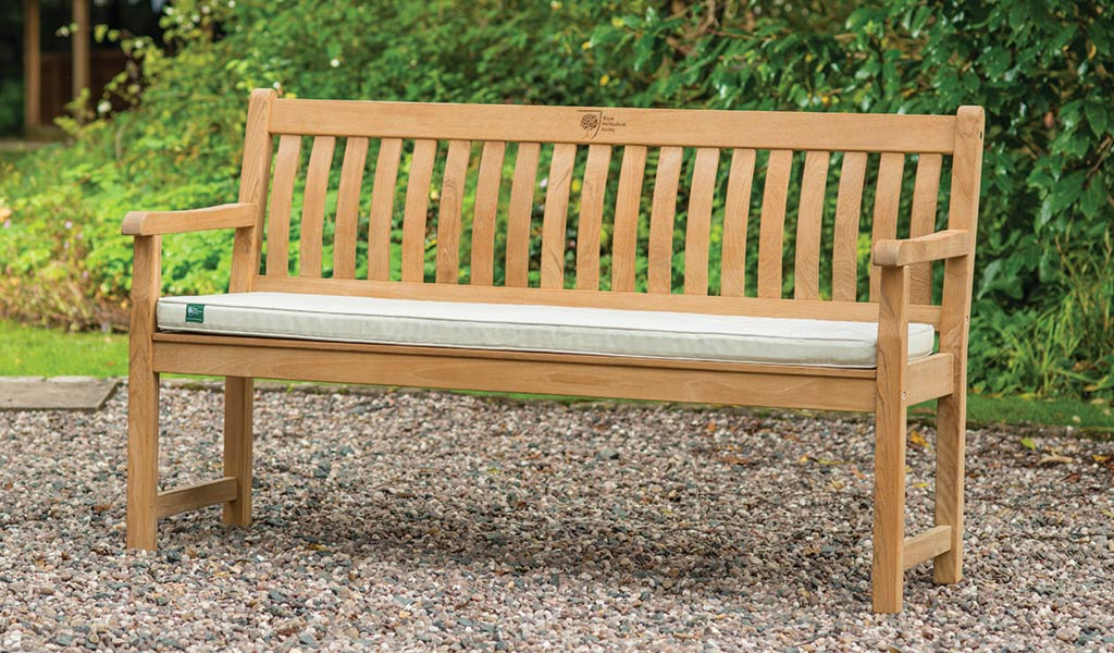 Wisley 5ft Bench from the RHS by KETTLER garden furniture range on a stoned ground.