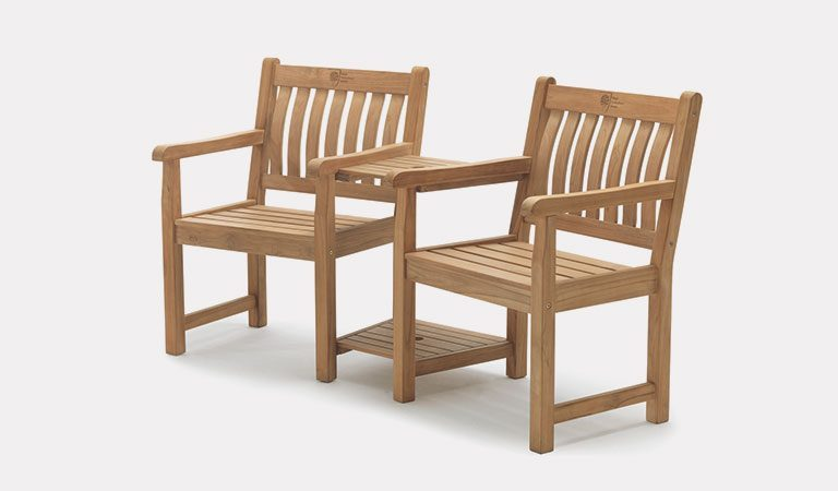 Wisley Companion Set from the RHS by KETTLER garden furniture range on a grey background.