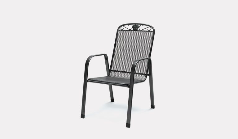 The Siena Dining Chair from KETTLER's Mesh Garden furniture range on a grey background.