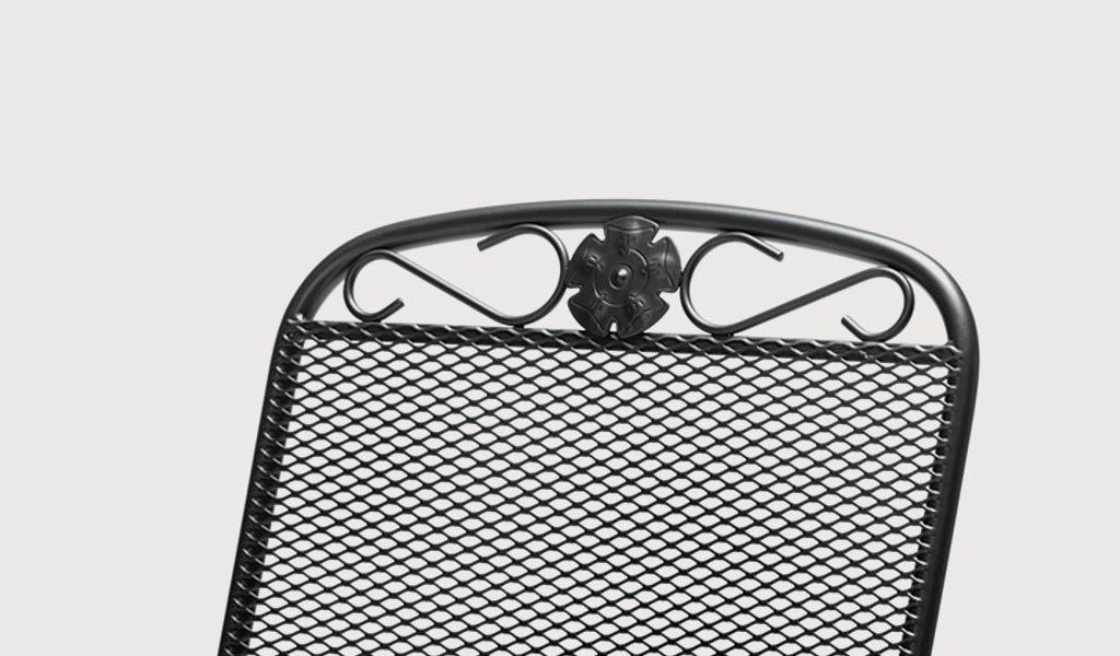 Rose detail of the Siena metal garden furniture.