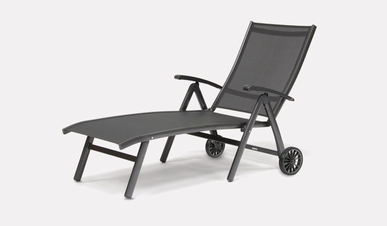 The Surf Folding Lounger from KETTLER's aluminium Garden furniture range on a grey background.