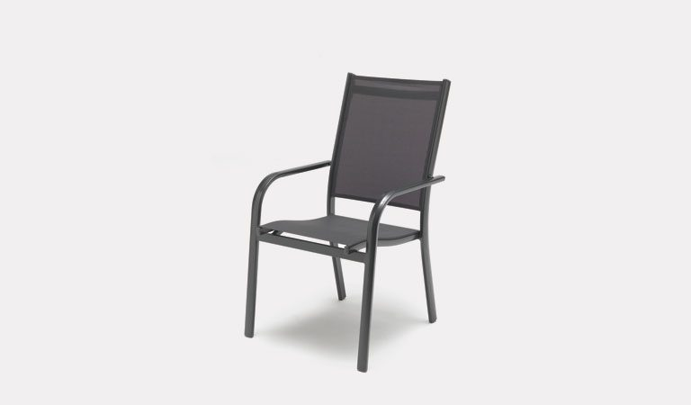 The Surf Stacking Chair from KETTLER's Mesh Garden furniture range on a grey background.