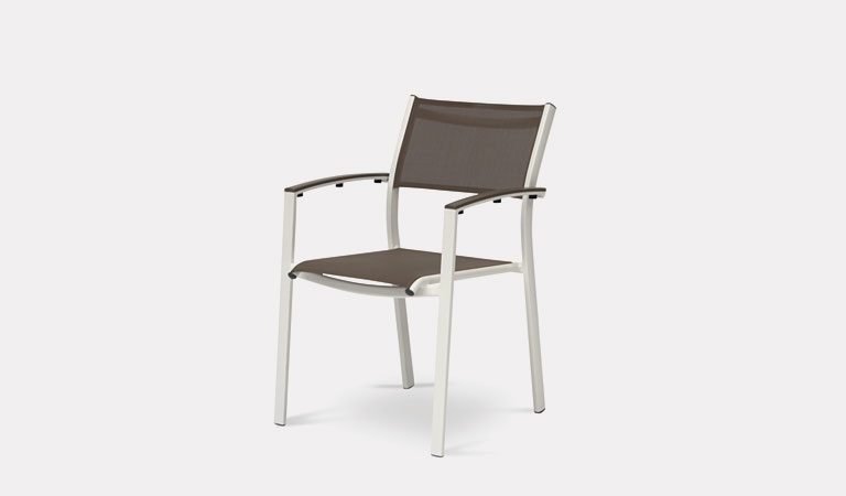 The Trevisio Dining Chair in Taupe from KETTLER's Classic Garden furniture range on a grey background.