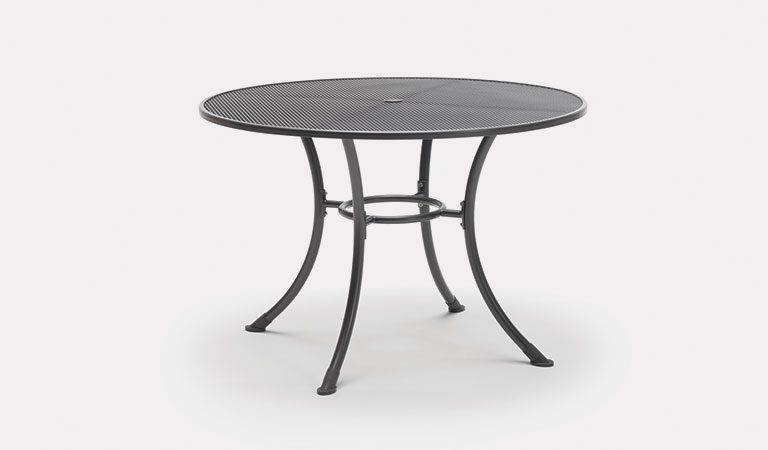 110cm Round Mesh table from KETTLER's Classic Garden furniture range on a grey background.