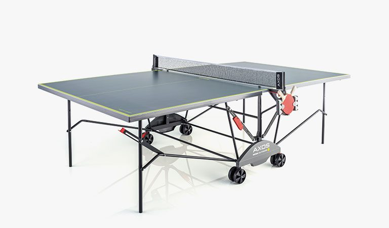 KETTLER's AXOS Indoor/Outdoor Table Tennis Table on a grey background.