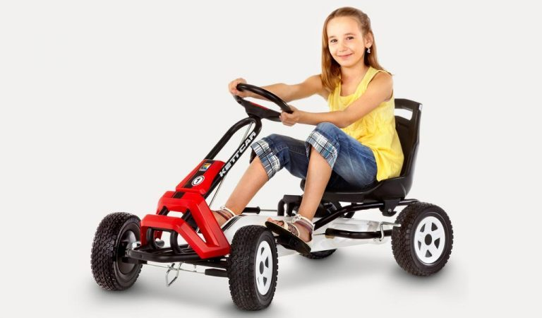 Girl drives Kettler Barcelona go kart