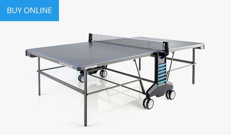 KETTLER's Classic Indoor 4 Table Tennis Table on a grey background.