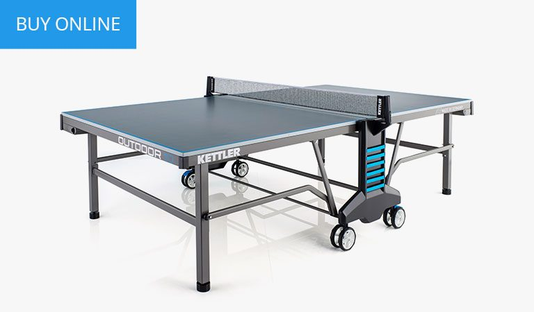 KETTLER's Classic Outdoor 10 Table Tennis Table on a grey background.