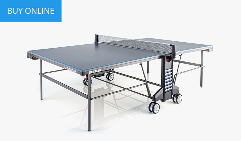KETTLER's Classic Outdoor 4 Table Tennis Table on a grey background.