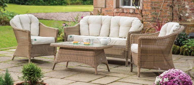 RHS Harlow Carr Lounge Set with cushions from the RHS by KETTLER garden furniture range on a stoned patio