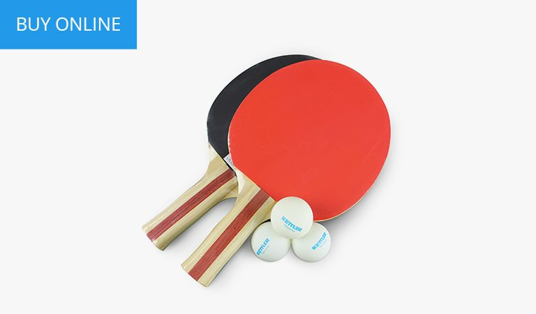 Accessory kit for KETTLER's indoor Table Tennis range on a grey background.