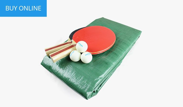 Accessory kit for KETTLER's outdoor Table Tennis range on a grey background.