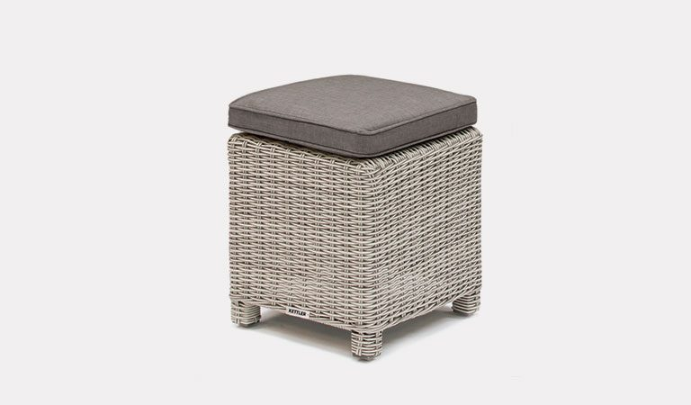 The Palma Stool in White Wash from KETTLER's Casual Dining Garden furniture range on a grey background.