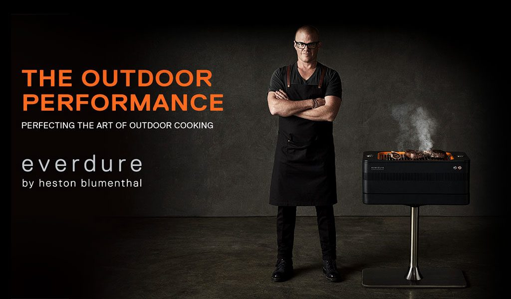 The Fusion Everdure by Heston Blumenthal BBQ on a black background.