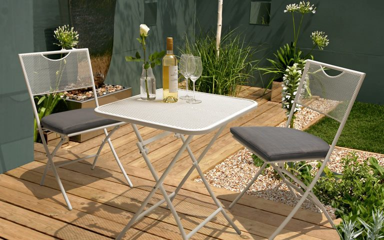 Kettler Balcone two-seater metal garden set on wooden patio