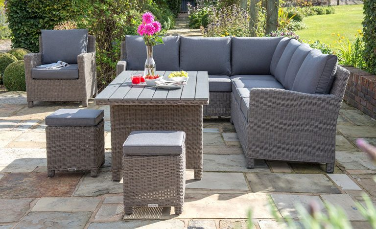 kettler palma rattan corner garden furniture set on patio - Garden Furniture Kettler