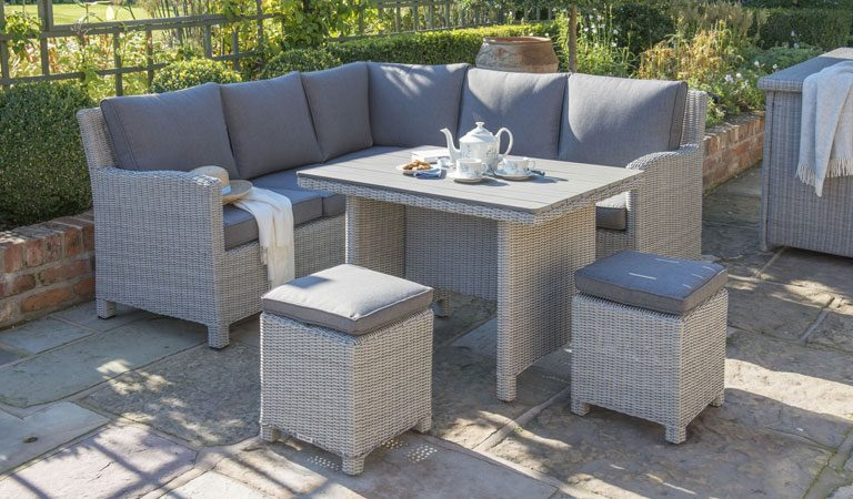 Kettler Palma Mini rattan garden furniture set on patio