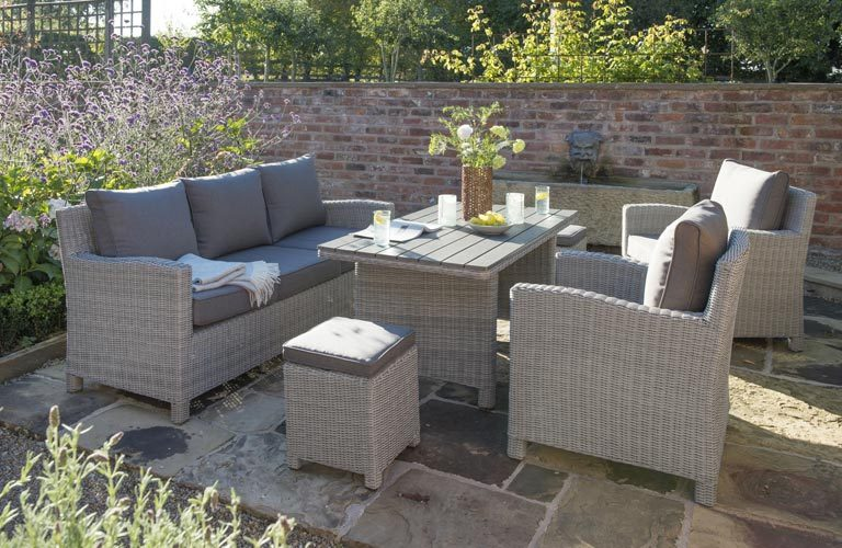 kettler palma whitewash rattan garden sofa set on patio