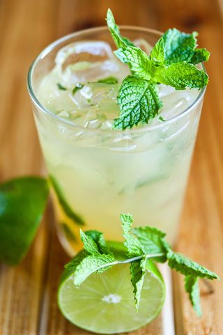 Classic gin and tonic with lime and a mint garnish