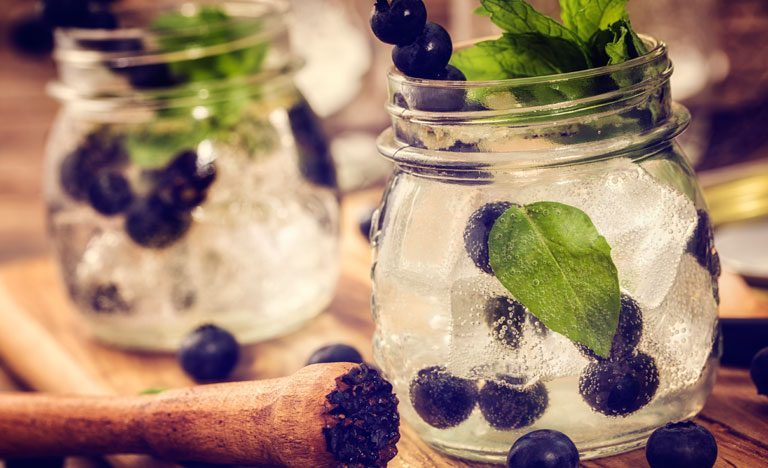 Blueberry gin mojitos with mint garnish in glass jam jars