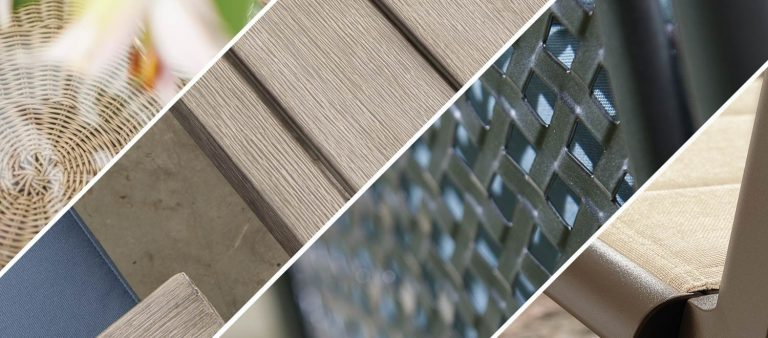 Close up of the four garden furniture materials