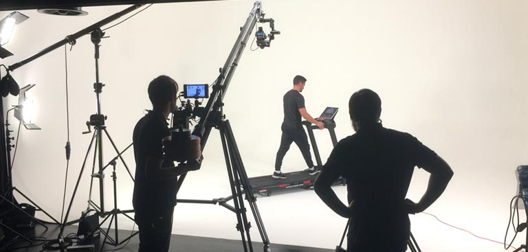 Filming in the studio for Kettler Fitness