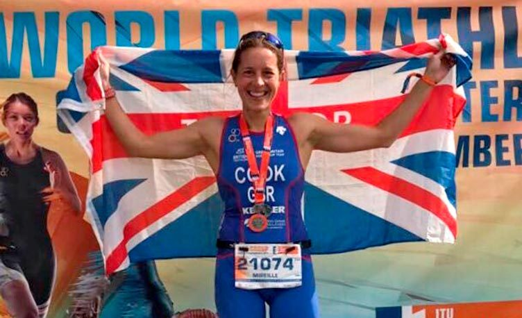 Mireille Cook wins bronze for GB at the World Triathlon championships.