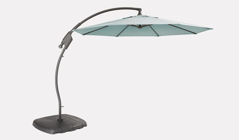 The 3m Free Arm Parasol with Aqua coloures fabric on a grey background.