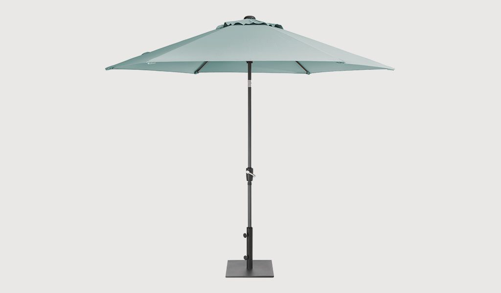 The 3m Wind-Up Parasol with Aqua Canopy on a grey background.