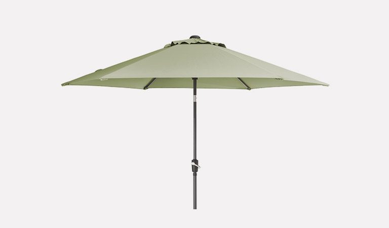 The 3m Wind-Up Parasol with Sage Canopy on a grey background.