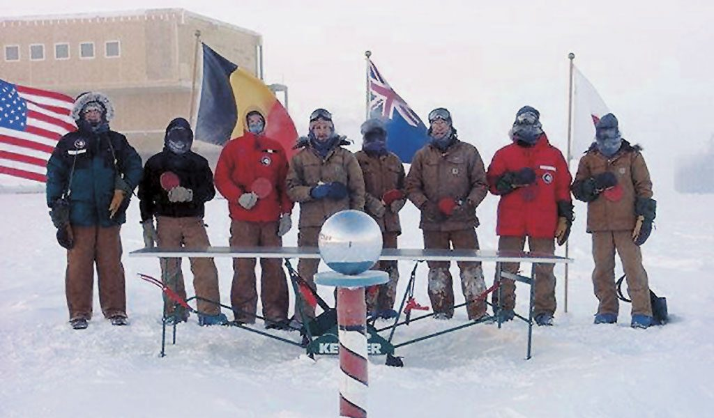 A weatherproof Kettler table tennis table at the south pole.