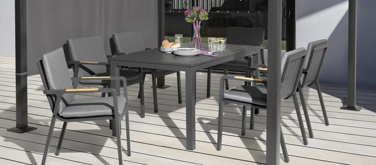 6 Seat Paros Dining Set on a patio.