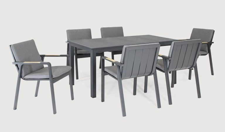 The Parso 6 Seat Dining Set on a grey background.