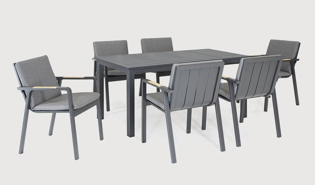 Paros 6 Seat Dining Set on a grey background.