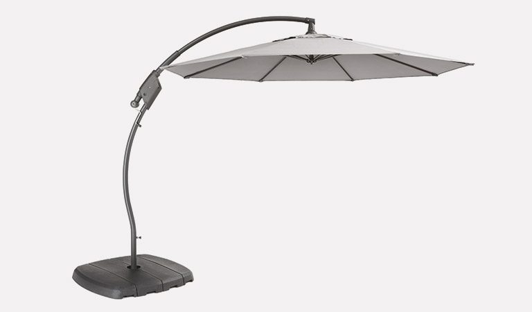 The Henley 3.0m Free Arm Parasol – Grey, exclusive to John Lewis, on a grey background.
