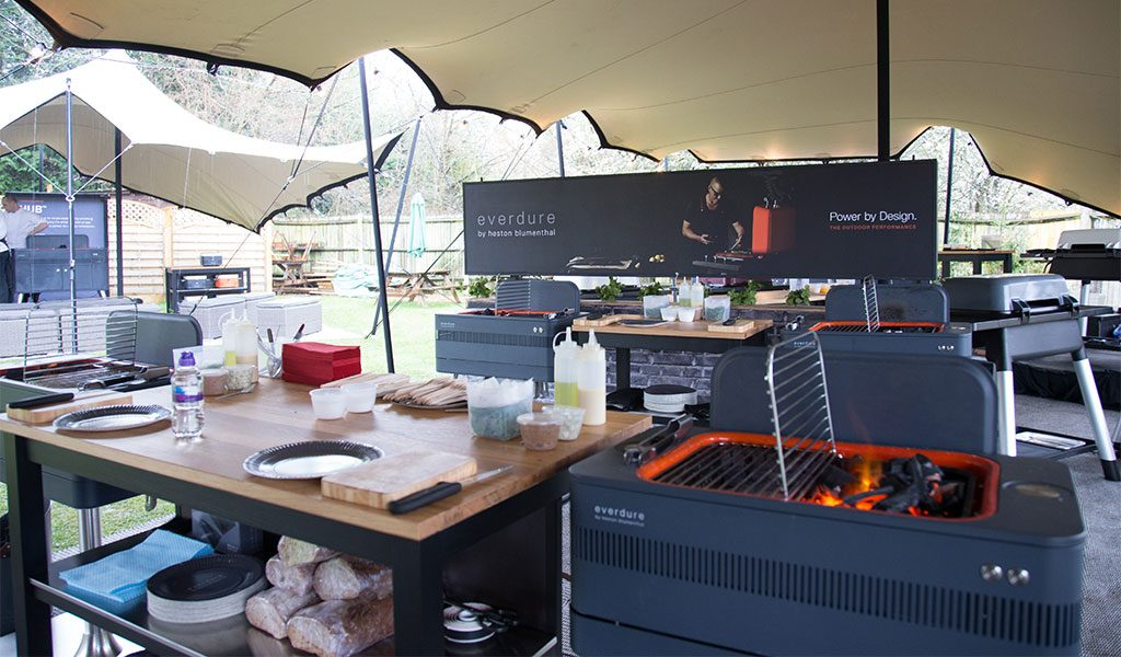 An Everdure by Heston Blumenthal Fusion charcoal BBQ on display at our BBQ experience.