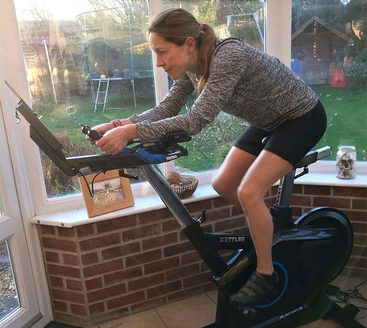 Mireille Cook training at home on her Kettler Racer S Indoor Training Bike.