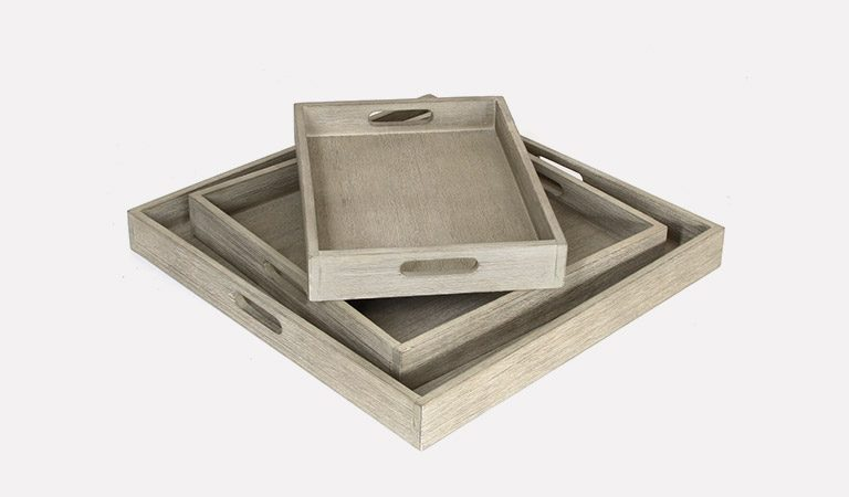 Cora Set of 3 outdoor trays on a grey background.