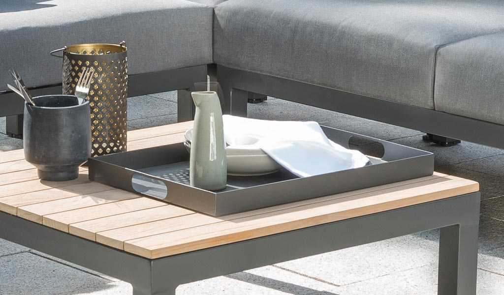 Outdoor Tray detail of the Elba Corner garden furniture set.