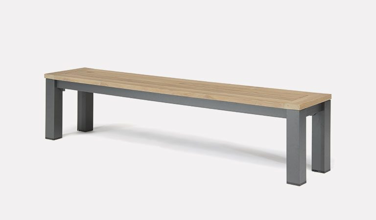 Elba Garden Furniture dining bench on a grey background.