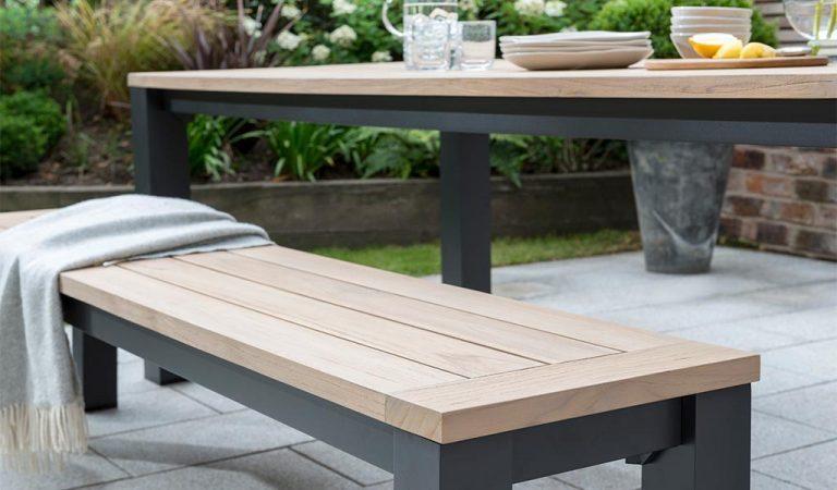 Wood top detail of the Elba garden furniture bench.