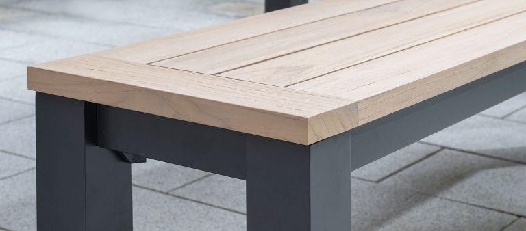 Wood top detail of the Elba Garden Bench.