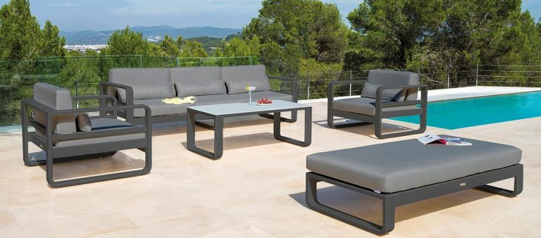 The Jati & Kebon Renou Lounge range on a sunny patio.
